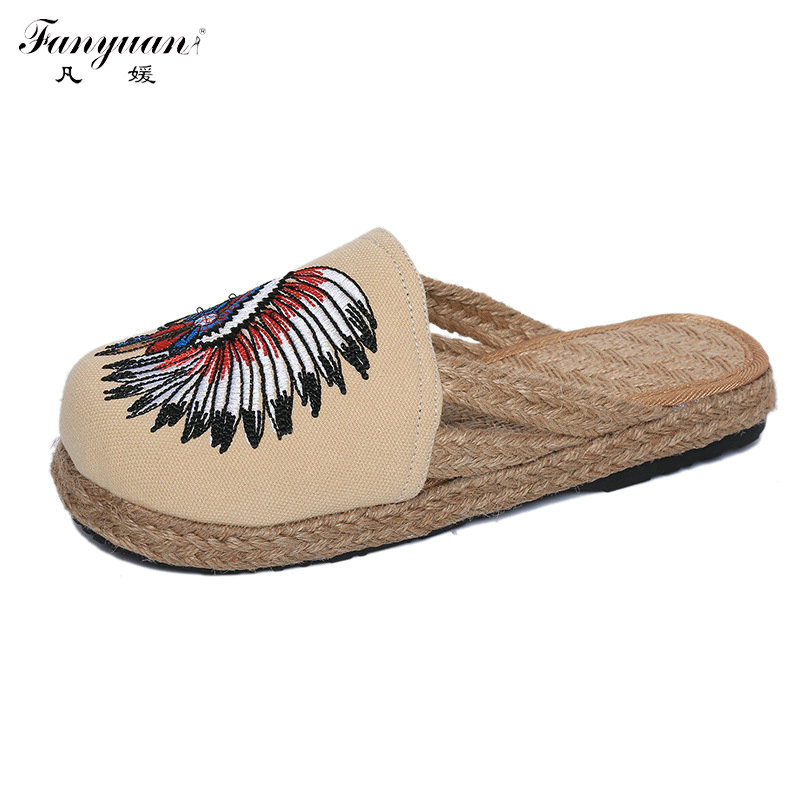 2017 Summer Slippers Woman Low Heel Loafers Mohican Head Embroider Hemp Flats Mixed Colors Shoes Round Toe National Style Shoes<br><br>Aliexpress