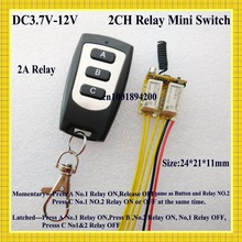 DC 3.7V-12V Wide Voltage Range Mini Relay Receiver Transmitter Micro Remote Switch 2CH Relay Latched Momentary master ON OFF RX