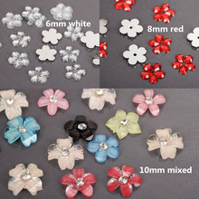 100pcs/lots 6/8/10mm Small Resin Rhinestones Flatback Flower Acrylic Cabochons Embellishments beads For 3d Nail Art Scrapbooking(China)