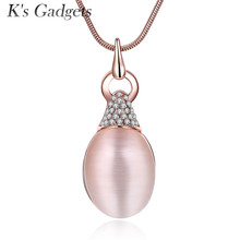 K'S Gadgets Retro Opal Pendant Necklace Rose Gold Charm Crystal Necklace Best Lady Jewelry Store Party Wedding Accessories(China)