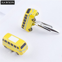 HAWSON Yellow Bus Car Cufflinks for Men Brand Novelty Men Fashion Cuff links Interesting Gift to Kids Free Shipping(China)