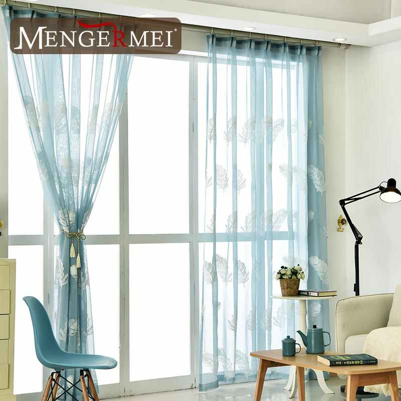 MENGERMEI Floral Voile White Green Curtain Modern Tulle Window for Living Room Bedroom Door Home Treantment Curtains XC-03
