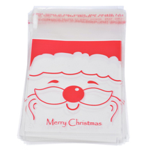 Hoomall 50PCs Santa Claus Christmas Food Packaging Bags Clear Plastic Self-adhesive Bags For Cookies Baking New Year Decor 10cm