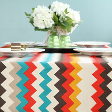 Awka Table Cloth Simple Style Geometric Round Rectangle Coffee Dining Decor Cover Cotton Canvas Print Tablecloth