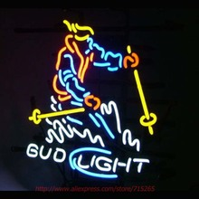 BUD LIGHT SKIING MAN Neon Sign Neon Bulb Real Glass Tube Handcrafted Beer Signs Decorated Beer Bar Pub Eye Catch Guarantee 19X15