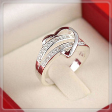 1 X Newest Fashion Women Jewelry Silver Plated Bling Heart Love Women Wedding Ring Size 5 6 7 8 9 10 11 Christmas Gift A1986a
