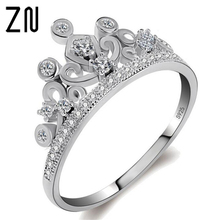 ZN Crown Ring Girls Fashion Princess Tiara Ring Wedding Finger Rings Engagement Ring Party Jewelry
