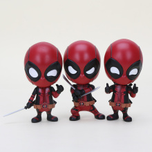 "4""10cm Anime Deadpool katana Sword fighting gesturing Bobble Head PVC Action Figure Model Toy(China)"