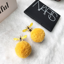 2017 New  High quality Korean fashion Cute Bee Dangle Earrings for Women Winter Drop Pom Pom Ball Ear Jewelry Christmas Gift