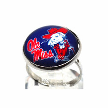 Ring Ole miss NCAA Charms Round Glass Dome Silver Plated  Ring For Women Girl Adjustable  GDR0123