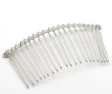 "10 Silver Tone Comb Shape Hair Clips 7.8x3.8cm(3-1/8""x1-1/2"")(China)"