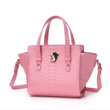 2107 New Arrive Woman Crocodile Pattern PU Leather Handbag Simple Korean Style Single Wings Shoulder Bag Messenger Bag(China)