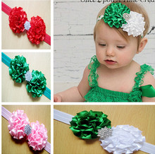 2014 New Design Baby Flowers Headband With CZ Diamond Children Hair Accessory Headbands Christmas gift 10pcs/lot fd08(China)