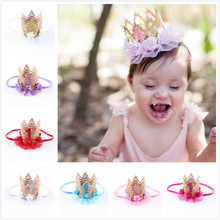 baby girl first birthday party cap decoration  Headband hairband Princess Queen Crown lace Hair Band Elastic Headwear GYH