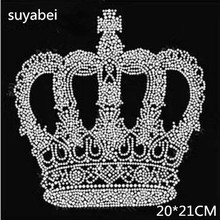 2pc/lot Crown pattern iron on crystal transfers design transfer on design rhinestones fix hot fix rhinestone applique shirt