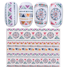 1 Sheet Vintage Ethnic Water Decal Totem Flower Triangle Pattern Decals Manicure Nail Art Transfer Sticker