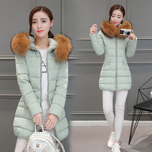 Cotton coat 2017 Spring and winter the new Korean women's fashion Slim thick warm long hair collar down jacket