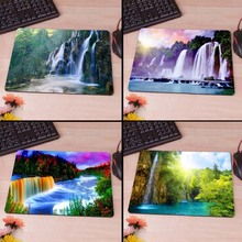Beautiful Waterfalls In Woods Rubber Soft gaming mouse Cool Games black mouse pad