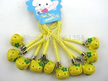Free shipping! 100 pcs Yellow Hello Kitty bell cell phone chain Bell Cell Phone Charm Strap Christmas gift