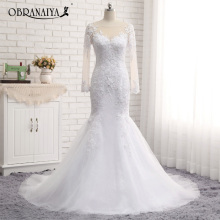 Buy Custom Made Vestido De Noiva Scoop Lace Long Sleeve Wedding Dresses Tulle Chapel Train Mermaid Wedding Gown Bride Real Photos for $188.00 in AliExpress store