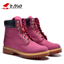 Genuine Leather Martin Boots Vintage Brand Snow Fashion Boots Women Outdoor Shoes  female autumn winter shoes size 36-39