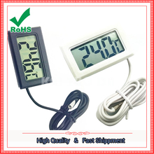 Digital thermometer with waterproof probe to measure air - conditioning room inside and outside temperature(China)