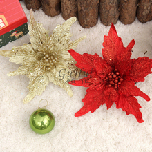 Gold Red White Artificial Flower For Christmas Tree Ornament Sequin Dusting Double Christmas Flower Wreath Wedding Home Decor(China)