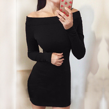 Women Sexy Dress Fashion The Word Shoulder winter Autumn Dress Vestidos Big Size Women Clothing Red Black Dresses