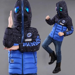 Зимняя куртка с очками на капюшоне для мальчиков, на возраст 3-10 лет