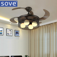 Nordic Village Kids Ceiling Fan With  Lights Black Folding Ceiling Fans With Remote Control Bedroom  Retractable Fan Lamp 220V