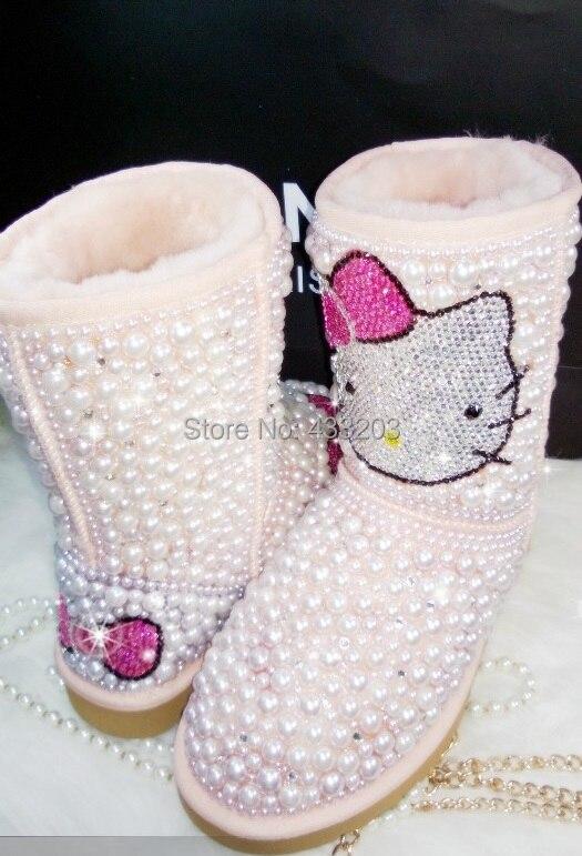 2016 Brand Fashion Womens Winter Boots Handmade Bling Rhinestones Pearls Beaded Hello Kitty Warm Fur Snow Boot Big Size EU35-41<br><br>Aliexpress