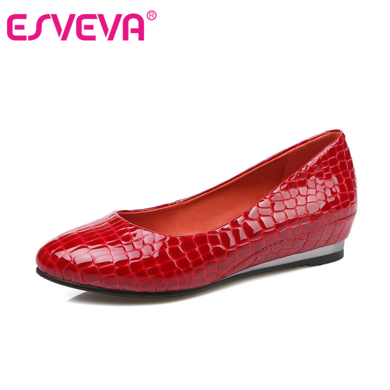 Red Summer Round Toe Slip on Casual Shoes Woman Slip on Flat Heel Loafers Women Genuine Leather Black Ballet Flats Size 34-39<br><br>Aliexpress