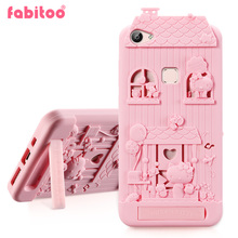 For BBK Vivo X6 3D Cute Cartoon Fabitoo Hello Kitty Phone Case Soft Silicone Rubber Back Cover With Lanyard
