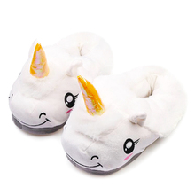 Winter Children Unicorn Slippers For Kids Plush Baby Girls Boys Cartoon cotton Slippers With Closed Heel Adult Home Flip Flops(China)