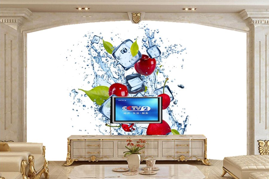 Custom 3D murals, Water Cherry Ice Spray Food wallpapers,living room sofa TV wall children bedroom wallpaper for walls 3 d<br>
