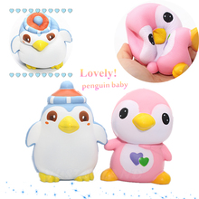 New Cartoon Penguin Baby Doll Squishy Slow Rising Jumbo Phone Straps Pendant Charms Scented Bread Kid Toy Gift W/Retail Package