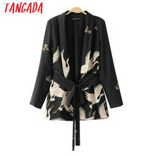 Tangada Bird Print Black Blazer Jackets Women Cool Slim Ladies Jacket With Belt Coat Blazer Casual Outwear 2017 Summer BE6
