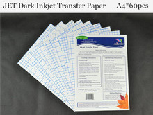 (A4*60pcs) Papel Transfer JET Dark Inkjet Heat Transfer Paper for Dark and Light Fabric Thermal Transfer Papier Transfert Papers(China)