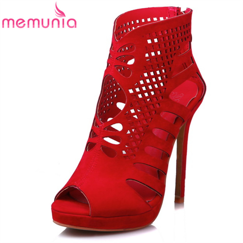 MEMUNIA 2017 new arrive women high heels sandals fashion peep toe High help hollow out summer shoes big size 34-48 party shoes<br>