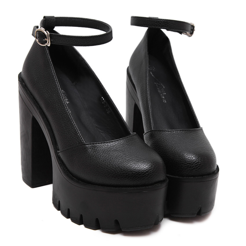 Black White New Fashion Sexy Lady Platform Thick High Heels Casual Buckle Pumps Women Shoes Sandals<br><br>Aliexpress