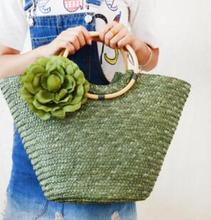 Rattan straw flower grass straw bag female strawberry bag beach bag(China)
