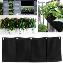 Living Indoor Wall Planter Horizontal 4 Pockets Garden Planter Wall-mounted Polyester Home Gardening Planting Flower Bags(China)