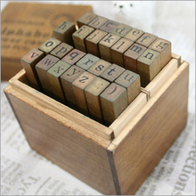 Lower case and Upper case Letter Alphabet Stamp Box Handwriting Stamp Antique Wooden Rubber Stamp with case 28 characters lot