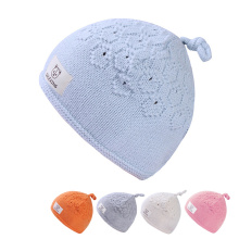 Crochet Newborn Baby Hat Soft Cotton Baby Winter Beanie Solid Knitted Pattern Hat For Newborn Boys Girls Baby Boys Clothing(China)
