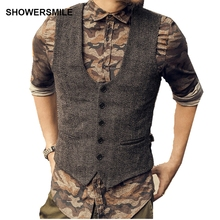 SHOWERSMILE Dark Grey Suit Vest Mens Wool Tweeds Autumn Vintage Slim Fit Striped Waistcoat England Style Sleeveless Jacket Gilet(China)