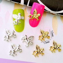 10Pcs/Lot 12*13mm Gold and Silver Horse with Wing 3D DIY Metal Alloy Nail Art Decorations Nail Stickers Jewery Accessories(China)