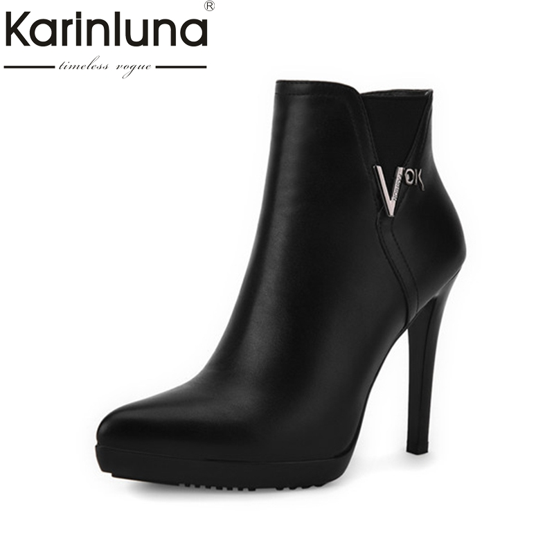 Karinluna Womens Zipper Closure High Heel Shoes Woman Sexy Pointesd Toe Platform Ankle Boots Size 34-39<br>