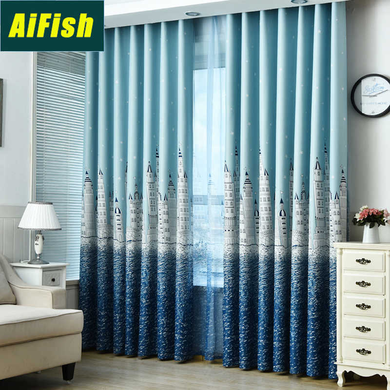 Water Castle Printed Blue Blackout Curtains and Sheer Curtain Tulle for Kids Children Room Customized Window Treatment WP2303