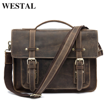 WESTAL Men Briefcases Handbag Leather Laptop Bag Messenger Bags Shoulder Crossbody Bags Crazy Horse Genuine Leather Men Bag