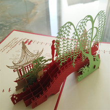 Beautiful scenery Custom Red Valentines Day Gift For Men & Women Handmade 3D POP Up Greeting Cards 15*20cm(China)